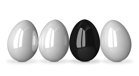 ugly duckling: Black glossy egg in row of white ones isolated