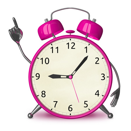 aha: Pink alarm clock character with idea isolated on white Stock Photo