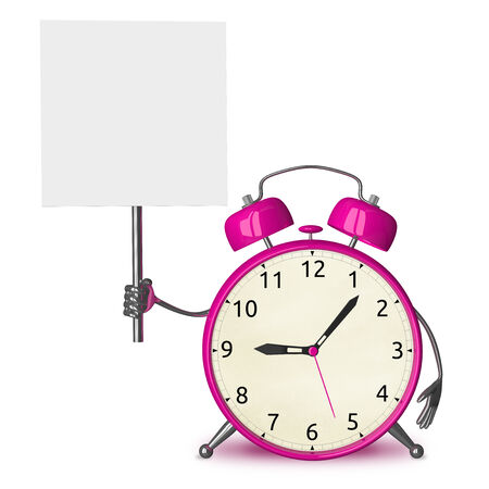 Pink alarm clock character with placard isolated on white photo