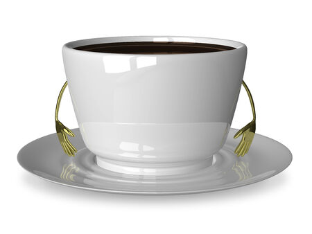 Glossy white cup of coffee or tea character on saucer isolated on white photo