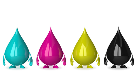 4 color printing: Glossy reflective drops characters of CMYK colors: cyan, magenta, yellow and black standing in row isolated on white