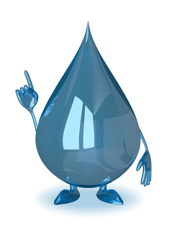 aha: Water drop character in moment of insight or making warning gesture Stock Photo