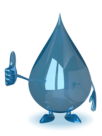 safe drinking water: Water drop character giving thumb up isolated on white background Stock Photo