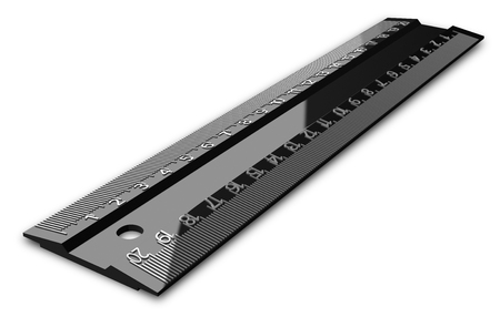 Glossy black ruler, twenty centimeters or inches on both sides, with relief digits, isolated on white, perspective view