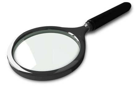 black grip: Greenish magnifying glass with black grip and steel rim isolated on white, perspective view