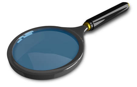 black grip: Fancy blue magnifying glass with black grip and steel rim isolated on white, perspective view