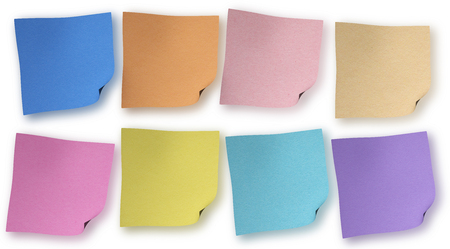 Multicolor sticky notes isolated on white background photo