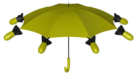 fragmentation: Yellow and black nuclear umbrella with aerial bombs isolated on white background