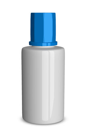 liquid reflect: White glossy plastic bottle of correction fluid with blue lid isolated on white background