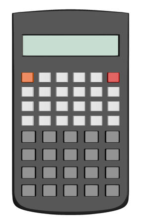 Black scientific calculator without text on buttons isolated on white background