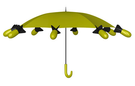 aerial bomb: Yellow and black nuclear umbrella with aerial bombs isolated on white background, front view Stock Photo