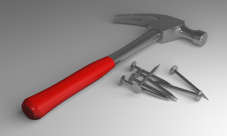 clout: Claw hammer with red handle and some new glossy steel nails lying on gray background