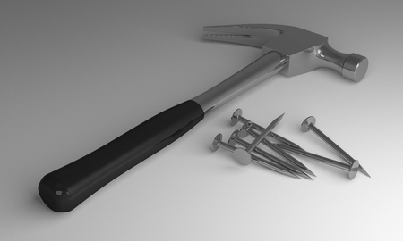 hobnail: Claw hammer with black handle and some new glossy steel nails lying on gray background