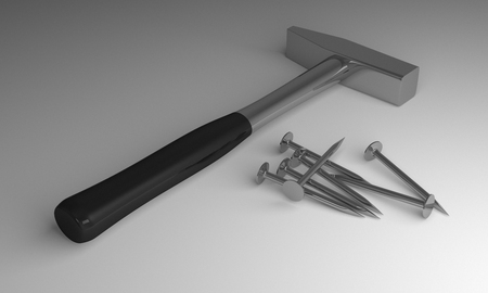clout: Hammer with black handle and some new glossy steel nails lying on gray background