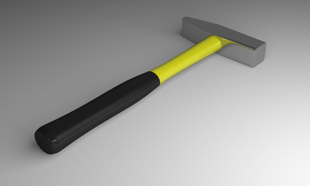 fiberglass handle: Hammer with yellow and black fiberglass handle lying on gray background