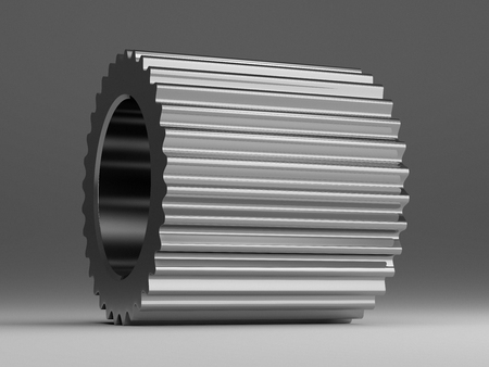 Metallic gear lying on gray background, close up photo