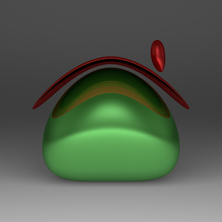 roundish: A simple roundish glossy green cottage with red roof on gray background Stock Photo