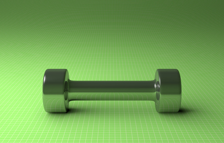 Fixed-weight metallic cylindrical dumbbell lying on green checkered background, front view photo