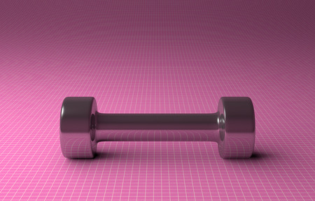 Fixed-weight cylindrical metallic dumbbell lying on pink checkered background, front view photo