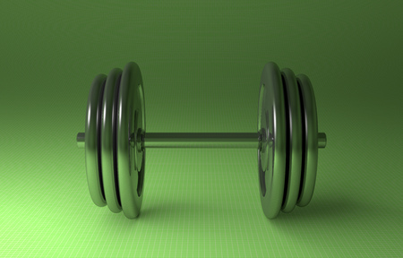adjustable dumbbell: Adjustable metallic dumbbell lying on green checkered background, front view Stock Photo