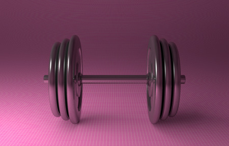 Adjustable metallic dumbbell lying on pink checkered background, front view photo