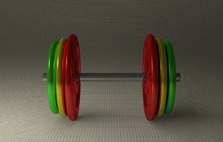 adjustable dumbbell: Adjustable dumbbell with multicolor disks lying on gray checkered background, front view