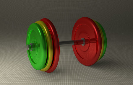 adjustable dumbbell: Adjustable dumbbell with multicolor disks lying on gray checkered background, perspective view Stock Photo