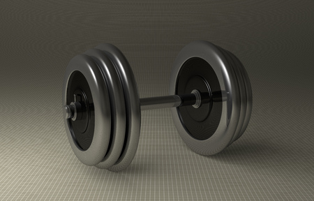 adjustable dumbbell: Adjustable metallic dumbbell lying on gray checkered background, perspective view Stock Photo