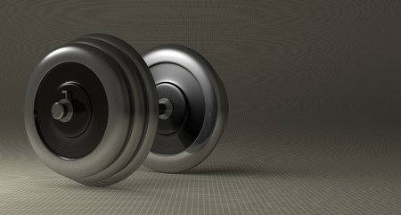 adjustable dumbbell: Adjustable metallic dumbbell lying on gray checkered background, with copy space