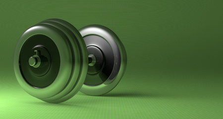 adjustable dumbbell: Adjustable metallic dumbbell lying on green checkered background, with copy space