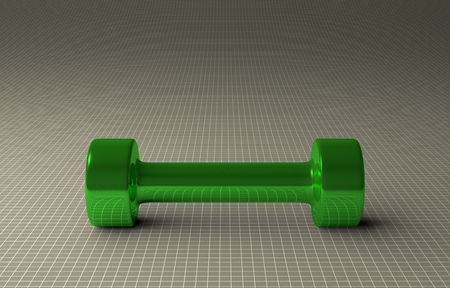 Fixed-weight cylindrical glossy green dumbbell lying on gray checkered background, front view photo