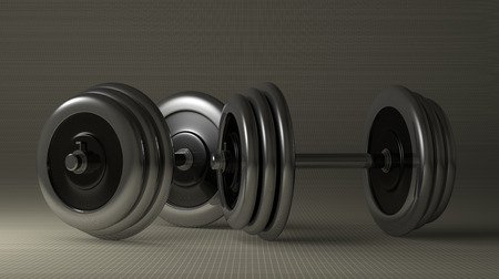 free weight: Pair of adjustable metallic dumbbells lying on gray checkered background