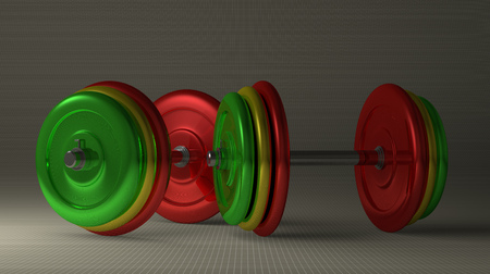 adjustable dumbbell: Pair of adjustable dumbbells with multicolor disks lying on gray checkered background Stock Photo