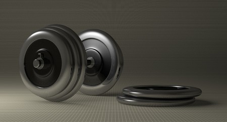 adjustable dumbbell: Adjustable metallic dumbbell and weight disks lying on gray checkered background
