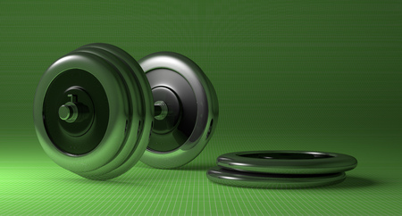 adjustable dumbbell: Adjustable metallic dumbbell and weight disks lying on green checkered background