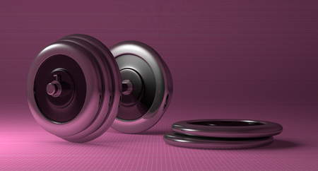 adjustable dumbbell: Adjustable metallic dumbbell and weight disks lying on pink checkered background