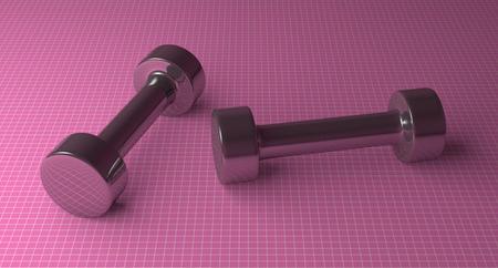 cylindrical: Coppia di peso fisso manubri metallico cilindrico sdraiata su sfondo rosa a scacchi