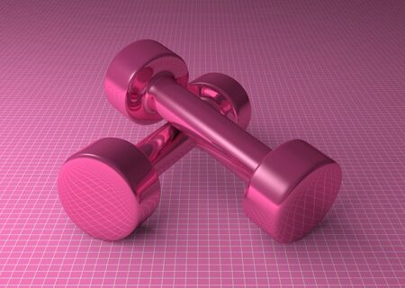 Pair of fixed-weight pink glossy cylindrical dumbbells lying on pink checkered background photo