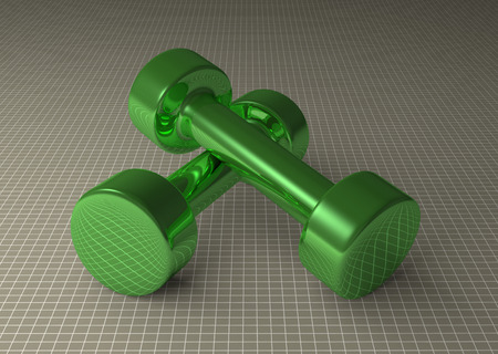 cylindrical: Pair of fixed-weight green glossy cylindrical dumbbells lying on gray checkered background