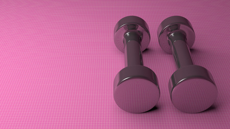 Pair of fixed-weight metallic cylindrical dumbbells lying on pink checkered background, copy space photo