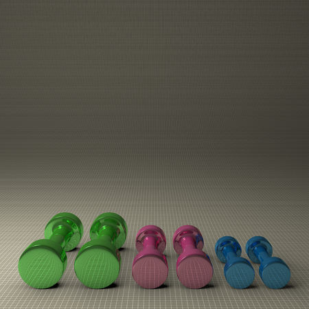 Three pairs of fixed-weight multicolor glossy cylindrical dumbbells lying on gray checkered background, with copy space photo