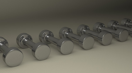 Row of fixed-weight metallic glossy cylindrical dumbbells lying on gray checkered background, perspective view photo