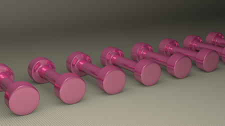 Row of fixed-weight pink glossy cylindrical dumbbells lying on gray checkered background, perspective view photo