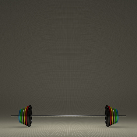 Barbell with multicolor disks on gray checkered background, front view, with copy space photo