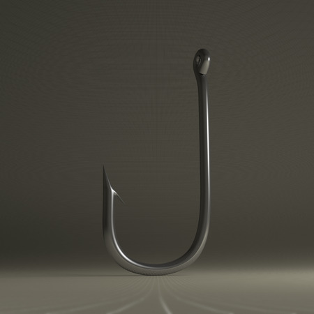 fish hook: Steel glossy fish hook standing on gray checkered background