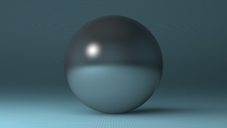 reflective: Steel glossy reflective sphere lying on blue checkered background Stock Photo