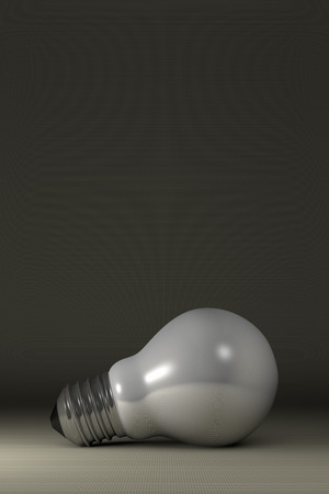 Arbitrary white glossy light bulb lying on gray squared background