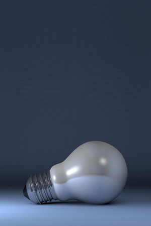 arbitrary: Arbitrary white glossy light bulb lying on blue squared background