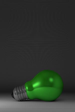 arbitrario: Arbitraria verde brillante bombilla se extiende sobre fondo cuadrado gris Foto de archivo