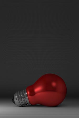 arbitrary: Arbitraria rojo brillante luz de bombilla se extiende sobre fondo cuadrado gris Foto de archivo
